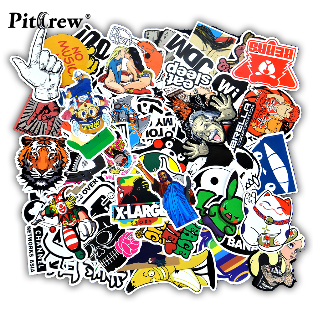 50 pcs Funny Car Stickers on Motorcycle Suitcase