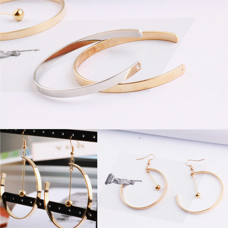 Copper C shape music pendants ear hook earrings pendants wholesale Fashion accessories diy handmade earrings product material in Drop Earrings from Jewelry Accessories