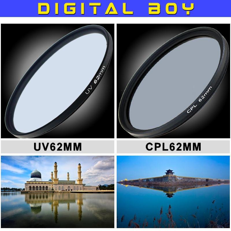Digital boy 62mm UV Lens Filter+62mm Circular Polarizing CPL Filter kit for Canon  Nikon  Pentax18-135 18-250 lente filtro