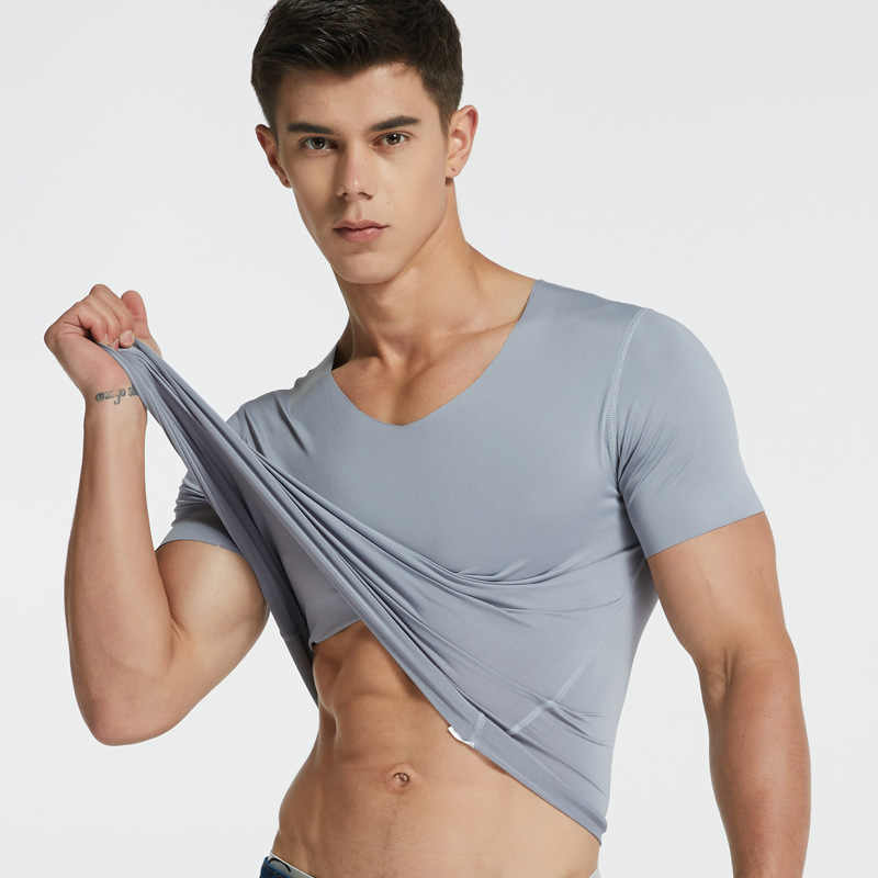 Men Ice Silk Quick Dry T-shirt Short Sleeve V Neck Solid Color Seamless Breathable Top Broadcloth casual