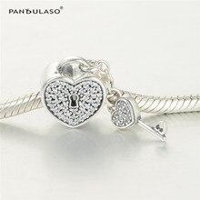 Pandulaso замок Любовь Шарм бисер Fit Серебро 925 оригинальные браслеты шарики для женщины DIY ювелирные изделия делая серебро бусинами