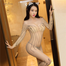 Nylon Nude Sheer Bodystocking Big Boobs Sexy Long Full Sleeves Crotchless Bodysuit BodyStocking Transparent lingerie
