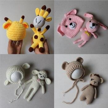 Acessórios Do Bebê de Malha Crochet Newborn Fotografia Props Hat + Jogo da Boneca do Brinquedo Do Bebê Da Foto Adereços Acessório Infantil Bonito Cap Outfit