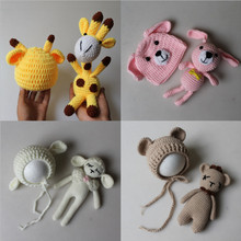 Newborn Photography Props Accessories Baby Knitted Crochet Hat+Toy Doll Set Baby Photo Props Accessory Cute Infant Cap Outfit puseky baby hat mermaid newborn photography props girls crochet knitted cap hand woven photo costume props hats 0 6m