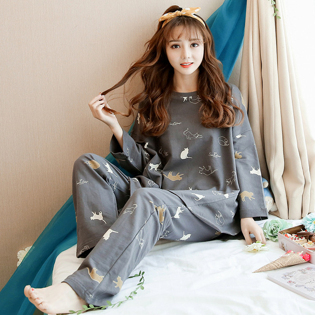 Korean version autumn 2019 ladies kawaii pajamas cotton long-sleeved suit thin section cardigan casual homewear vintage pijama