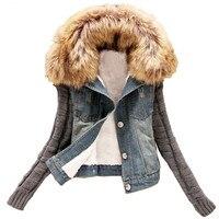 Women's Denim Jacket Winter Coat Bomber Big Fur Collar Denim Outerwear Hooded Jeans Jackets Short Tops 4XL Chaquetas Mujer C2285