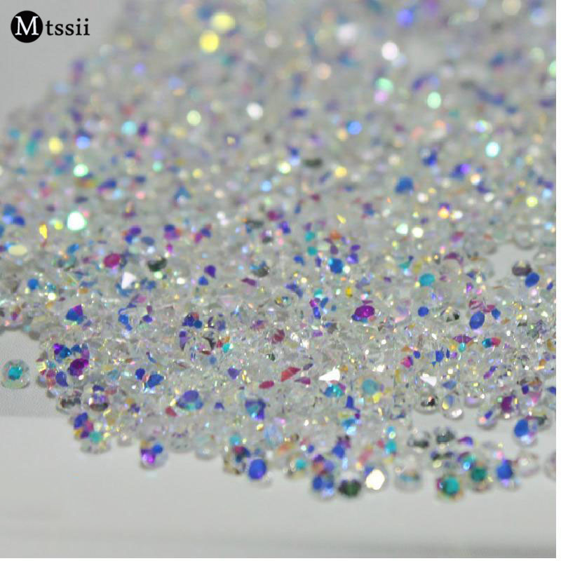 Mix Sizes 1000PCS/Pack Crystal Clear AB Non Hotfix Flatback Rhinestones Nail Rhinestoens For Nails 3D Nail Art Decoration Gems 1728pcs clear crystal ab ss3 to ss10 mini sizes nail art non hotfix crystal glass rhinestones nail decoration