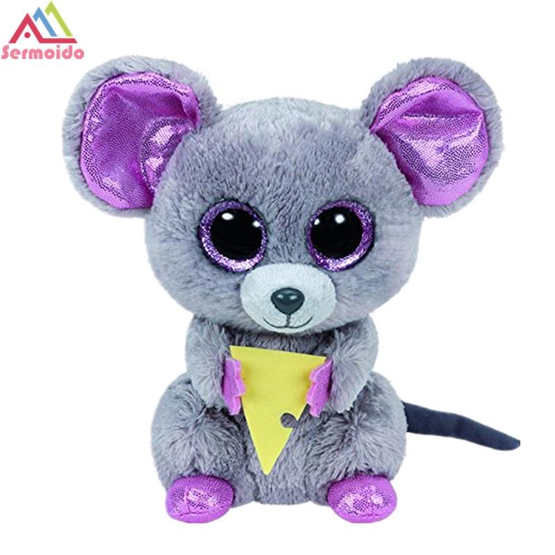Sermoido Ty Beanie Boo плюшевые-пищалка в Мышь 6-inch большой Средства ухода для век Берет Детские Плюшевые Коллекционная мягкая игрушки куклы dbp154