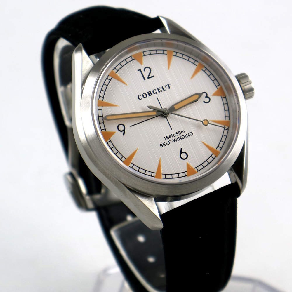 41mm Corgeut White Dial Leather Strap brushed case Sapphire Glass miyota Automatic Movement mens Watch41mm Corgeut White Dial Leather Strap brushed case Sapphire Glass miyota Automatic Movement mens Watch
