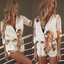 La MaxZa V Neck Floral Printed Casual Playsuit Female Middle Sleeve Oversized Loose Jumpsuit Shorts Summer Beach Streetwear(China)