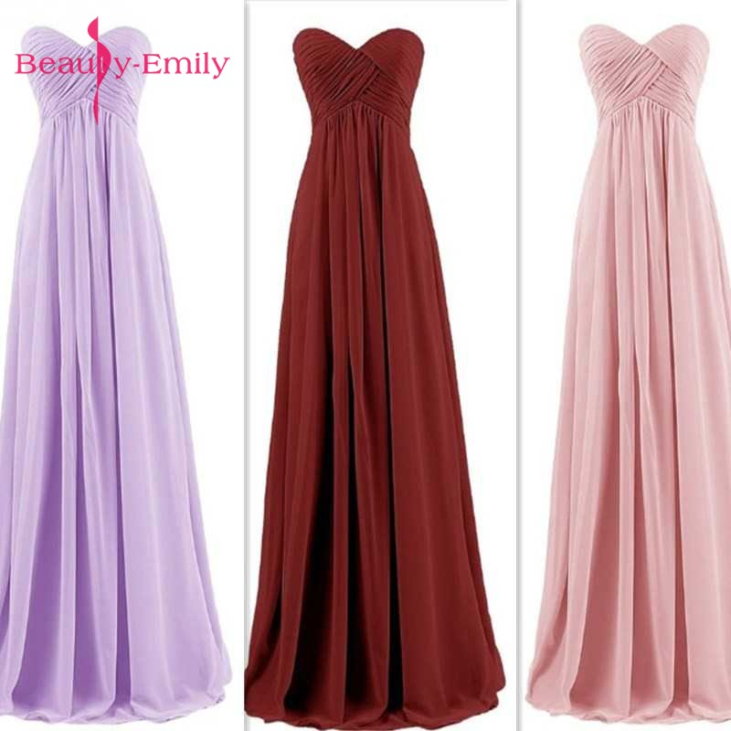 Beauty Emily Long Chiffon Bridesmaid Dresses 2019 Pink  A-Line Sleeveless Sweetheart Off the Shoulder Homecoming Party Dresses