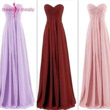 Beauty Emily Long Chiffon Bridesmaid Dresses 2020 Pink A-Lin