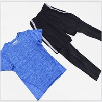 A18377 Men 2 piece set exercise shirt base layer running gym soccer sports clothing tights& pants suit