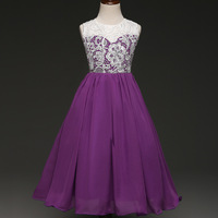 New Girls Lace Dresses 6 8 10 To 12 Years Sleeveless Girl Party Dress Purple Mesh