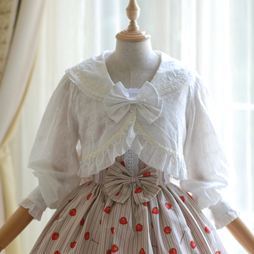 Blousese01 Sweet Coton Broderie Col Marine Style Blanc Blouse Dentelle Princesse Shell Grand Marin Lolita Crème Plein Arc dRqdaf