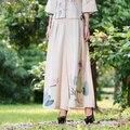 2017 Novo Estilo Femme Pantalon Calças Perna Larga Mulheres Calças Casual e Elegante Do Vintage Impressão Robe Palazzo Calças Étnicas Feminino K454