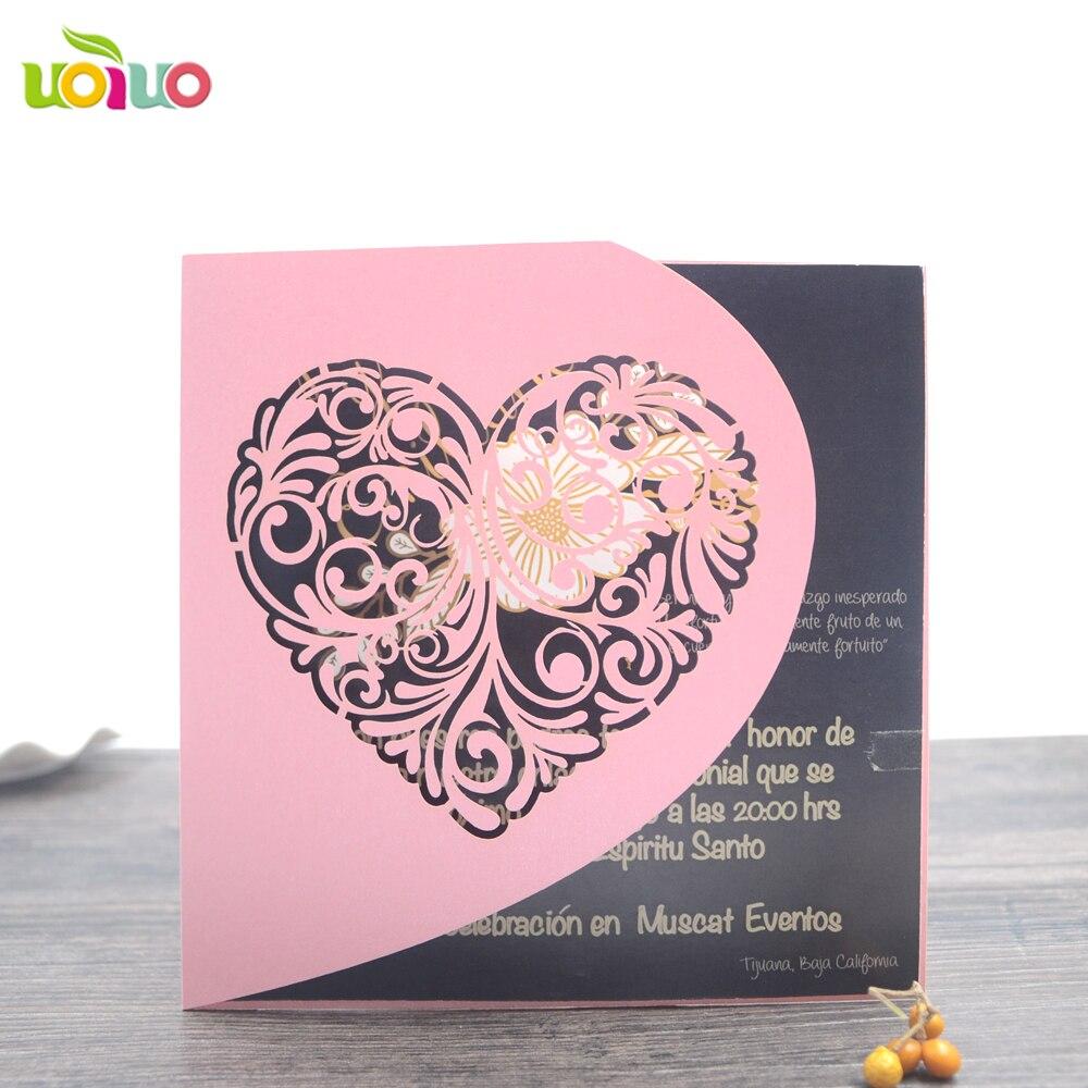 heart design laser cut handmade wedding invitation cards ...
