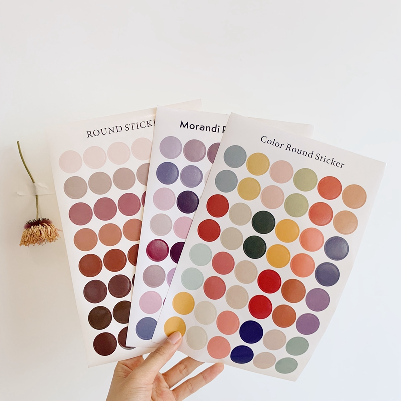 DIY Stickers Dot Morandi Earth Color Scrapbook Album Photo Wall Journal Project Making Happy Card Decoration Sealing Stickers