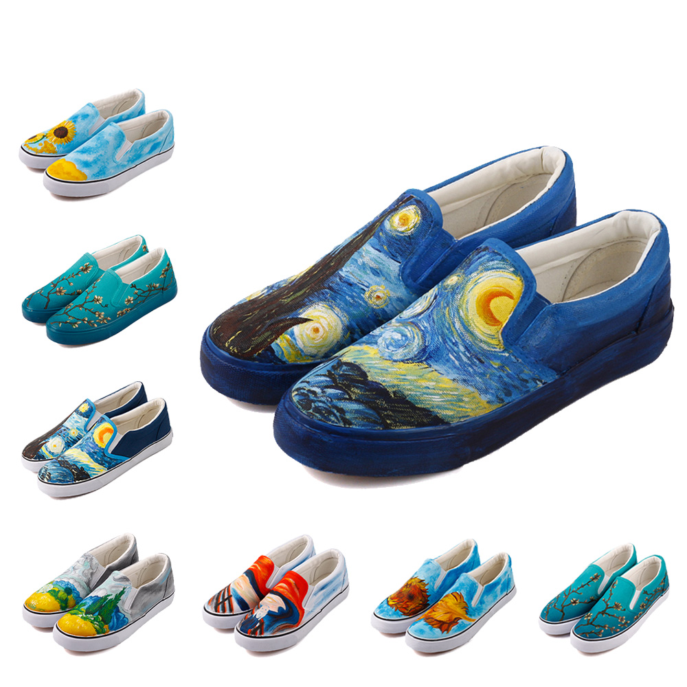E-LOV Slip On Canvas Shoes Men 2018 Starry Night Famous Painting Flats Shoes Spring Summer Loafers Hand-Painted Espadrilles e lov design hand painted couples lovers canvas shoes custom women flats casual shoe espadrilles graffiti leo horoscope