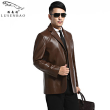Leather Jacket Men Men's Casual Leather Clothing Men Turn-down Collar Slim Suit Men's Leather Coat High Quality Mens Leather Jac