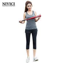 Women Yoga Set Sport Suit 2017 Vest + Pants Elasticity Gym Running Young Women's Yoga Clothes Fitness Outdoor Comfortable M-3XL