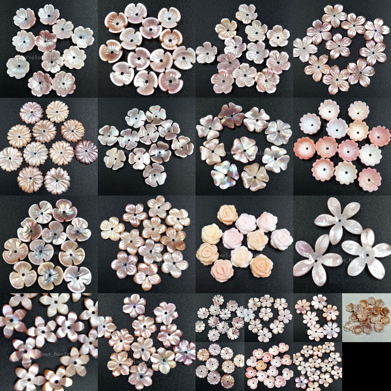 10pcs Wholesale 8mm; 10mm; 14mm; 20mm;  White Pink Mother Of Pearl Shell Flower Women Men Pendant Bead PMC4928