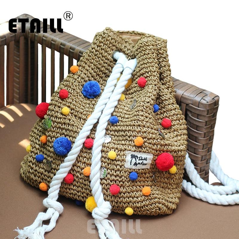 2017 Summer Crochet Straw Backpack Handmade Vines Knitting Brand Beach String Bag Indian Pompon Women Drawstring Bags Sac a dos цена