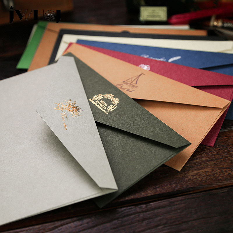 JWHCJ European Vintage Hot Stamping Printing Kraft Paper Envelopes Kawaii School Supplies Envelope For Wedding Letter Invitation