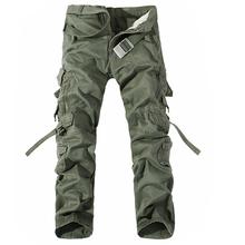 Męskie spodnie Cargo gorąca sprzedaż Plus rozmiar 28-42 luźne marki Homme wojskowy spodnie armia odzież marki na co dzień pracy spodnie męskie tanie tanio Szczęśliwy czas Cargo pants COTTON Zipper fly Pełnej długości Mieszkanie Midweight men pants Mężczyźni Suknem Pockets