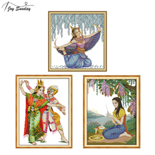 Joy Sunday Thai Style Cross Stitch Pattern DMC Counted Printed Aida Fabric 11ct 14ct Canvas for Embroidery DIY Needlework Crafts