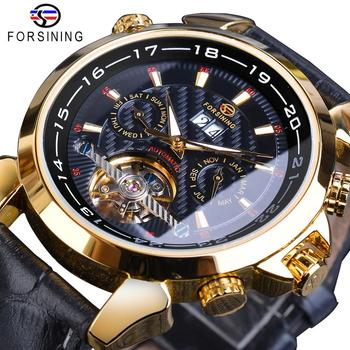 Forsining Mens Mechanical Watch Automatic Toubillon Date Relogio Business Skeleton Genuine Leather Wrist Watches Clock Masculino