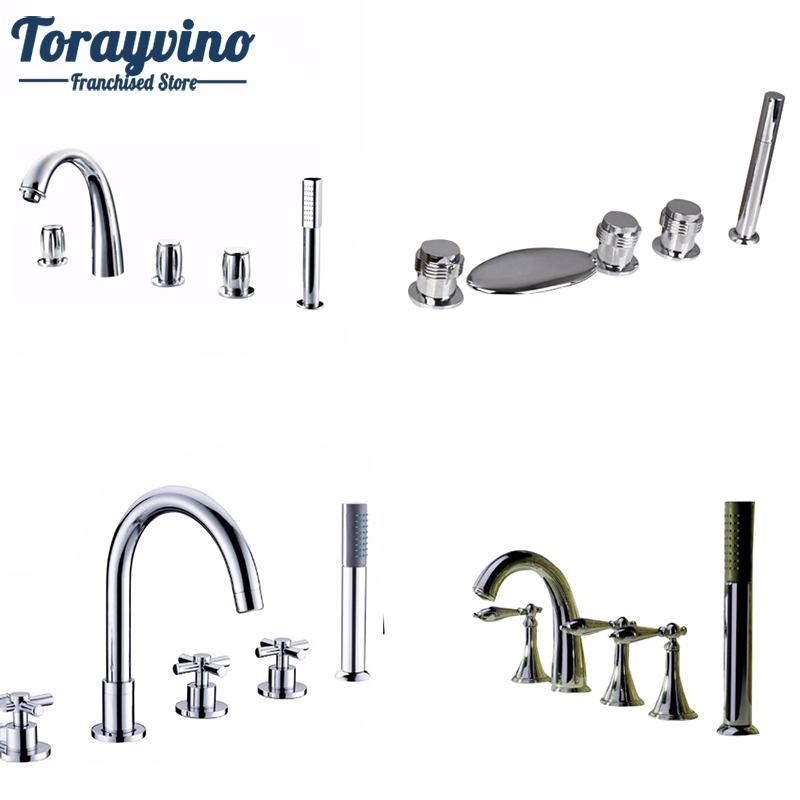 Torayvino New 5 PCS Brass Deck Mounted Hot Cold Water Bathroom Shower Faucet Bathtub Mixer Bath Set banheiro chuveiro Tap torayvino tap bathroom shower faucet with chrome polished cold