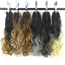 Soowee Long Curly Black To Brown Ombre Claw Ponytail Synthetic Hair Clip In Hair Extension Hairpiece Pony Tail Hair on Clips