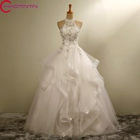 Wedding Dress Luxury Wedding Dress 2018 Bridal Gown Beading Crystal Lace Halter Slim Embroidery Autumn And