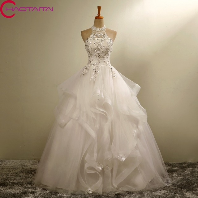 02bb81b655 Aliexpress.com : Buy Wedding dress Luxury Wedding Dress 2018 Bridal gown  Beading Crystal lace halter Slim Embroidery Autumn And Winter bandage from  ...