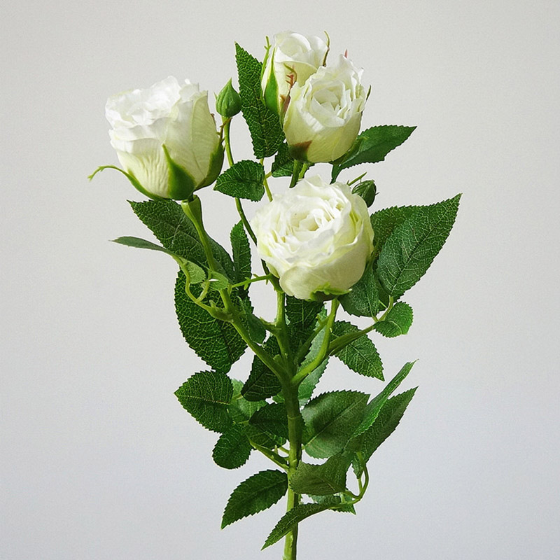 Silk Rose Artificial Flowers With 4 Heads Long Stem Plastic Branches For Wedding Hotel Decor 3