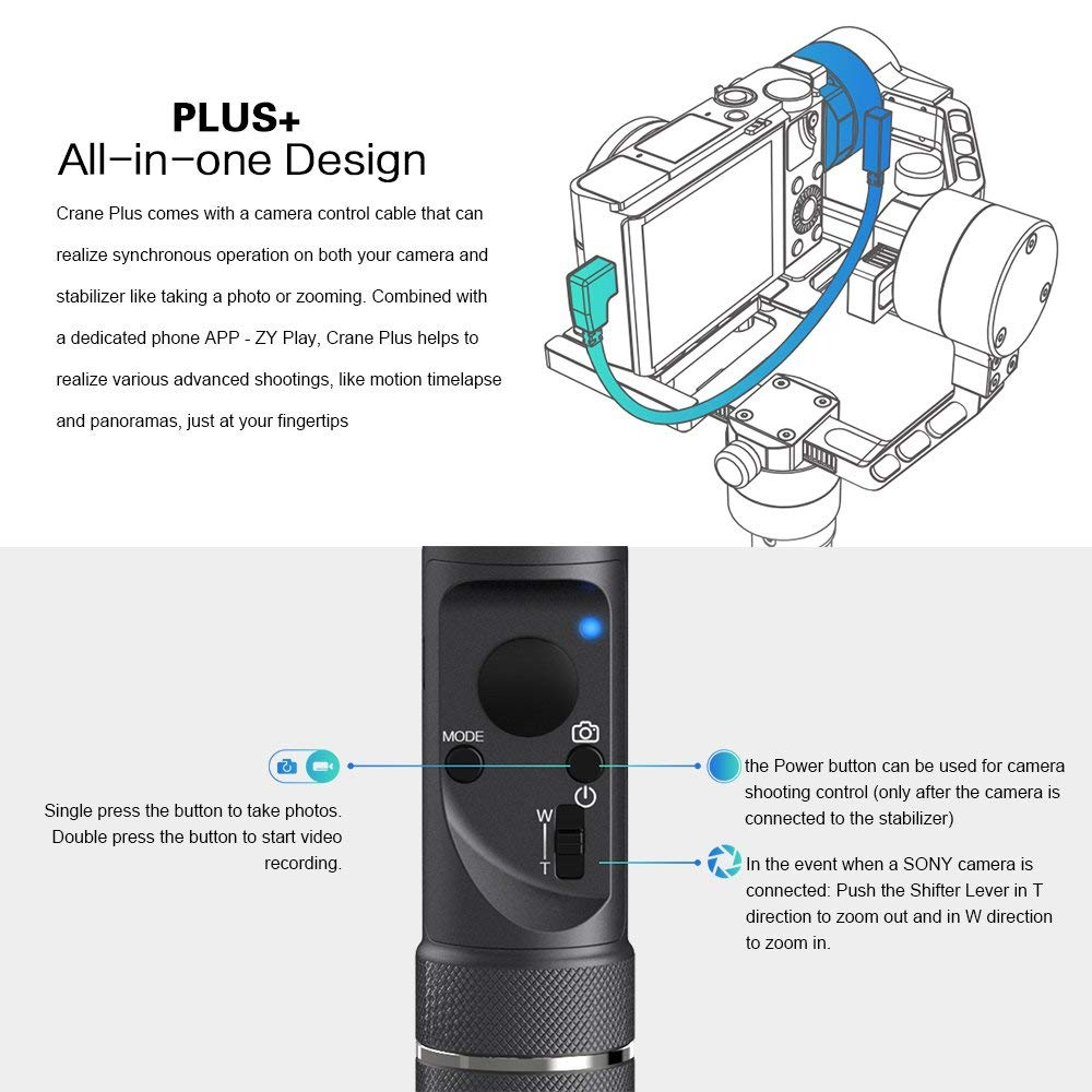 Zhiyun Crane Plus 3 Axis Handheld Gimbal for Sony Canon DSLR Mirrorless Camera 5.5lb Payload aaTiqmelapse Object Track FPV POV Mode22