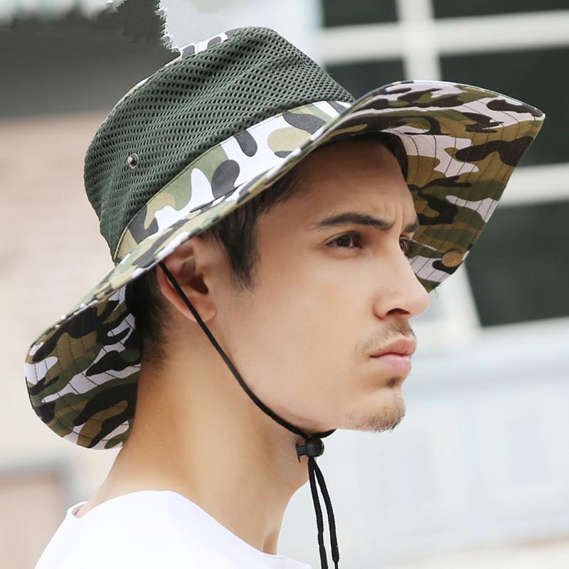 Outdoor Fishing Military Bucket Hat Hiking Hunting Boating Snap Brim Hat Camouflage Sun Cap 10pcs/lot