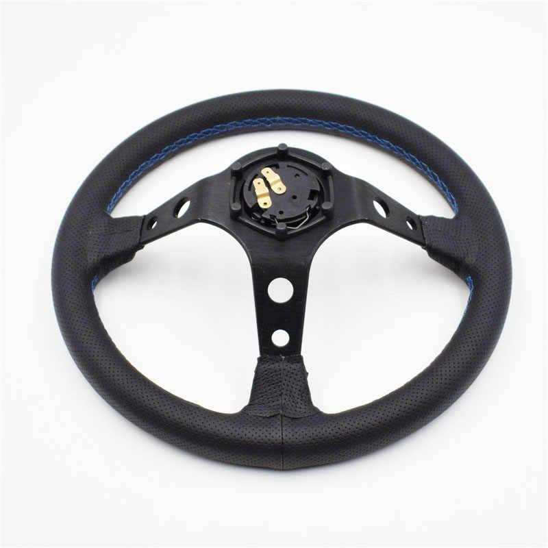 Color : Black Volante Desplazado 13inch Vertex blanca bordado Negro de cuero genuino de direcci/ón Drift Deporte ruedas con azul de costura Volante Deportivo
