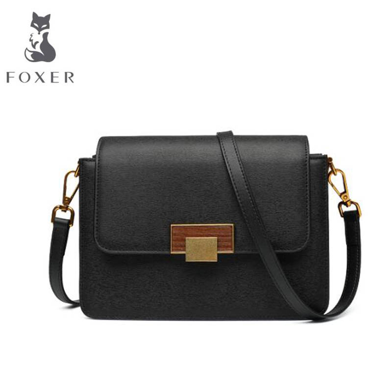 купить FOXER 2018 New women Leather bag fashion luxury handbags women famous brand designer women leather Shoulder Crossbody Bags по цене 3876.54 рублей