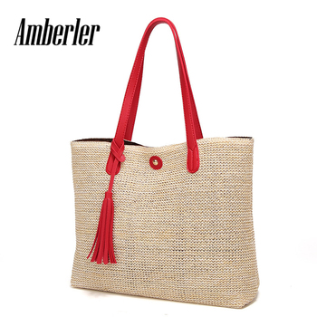 Amberler High Quality Women Straw Handbags Large Capacity Ladies Shoulder Crossbody Bags Fashion Summer Female Beach Tote Bag image