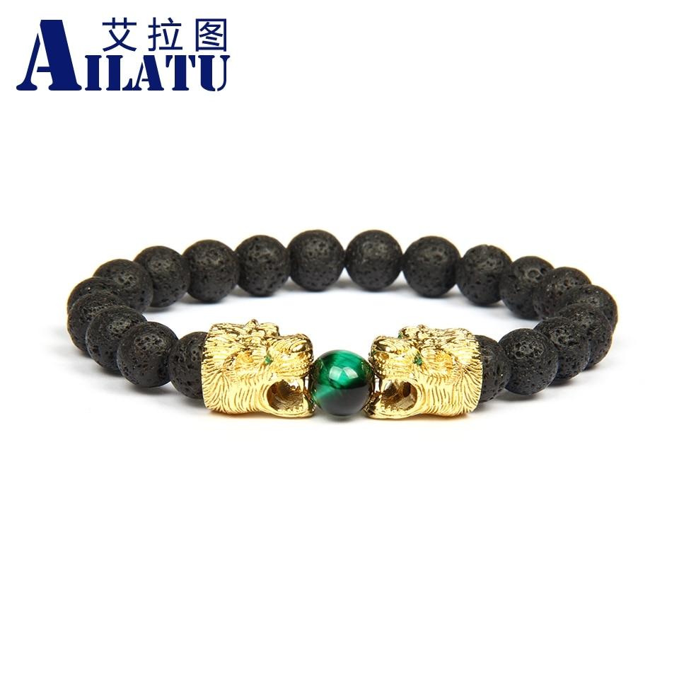 Ailatu Double Leopard Lion Tiger Head Bead Bracelet Green Strass Stone Male Fashion Jewelry Wholesale 8mm