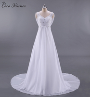 C V French Style Luxury Lace Training Beach Wedding Dress Backless High Waist Sexy Lace Princess