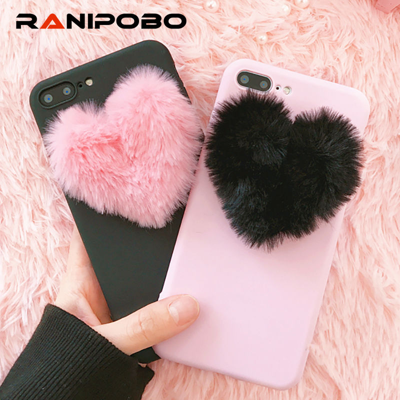 Lovely 3D Furry Love Hearts Cute hair Phone Case For iphone X 6 6S 7 7Plus 8 8Plus 5 5S SE Fashion Soft TPU Back Cover