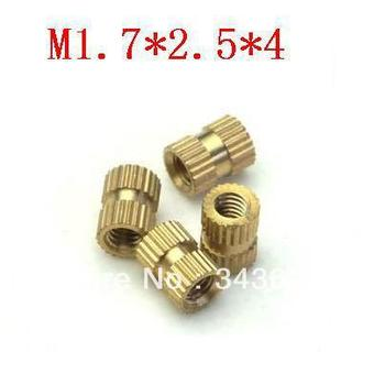 High quality  M1.7*2.5*4  brass knurl nuts/ insert round nuts/thumb brass nut   (1000pcs/lot)