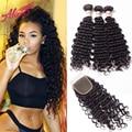 Cabelo profunda curly peruano virgem cabelo com encerramento ali grace com Fechamento 7A Peruano Onda Profunda 3 Pacotes Com Rendas fechamento