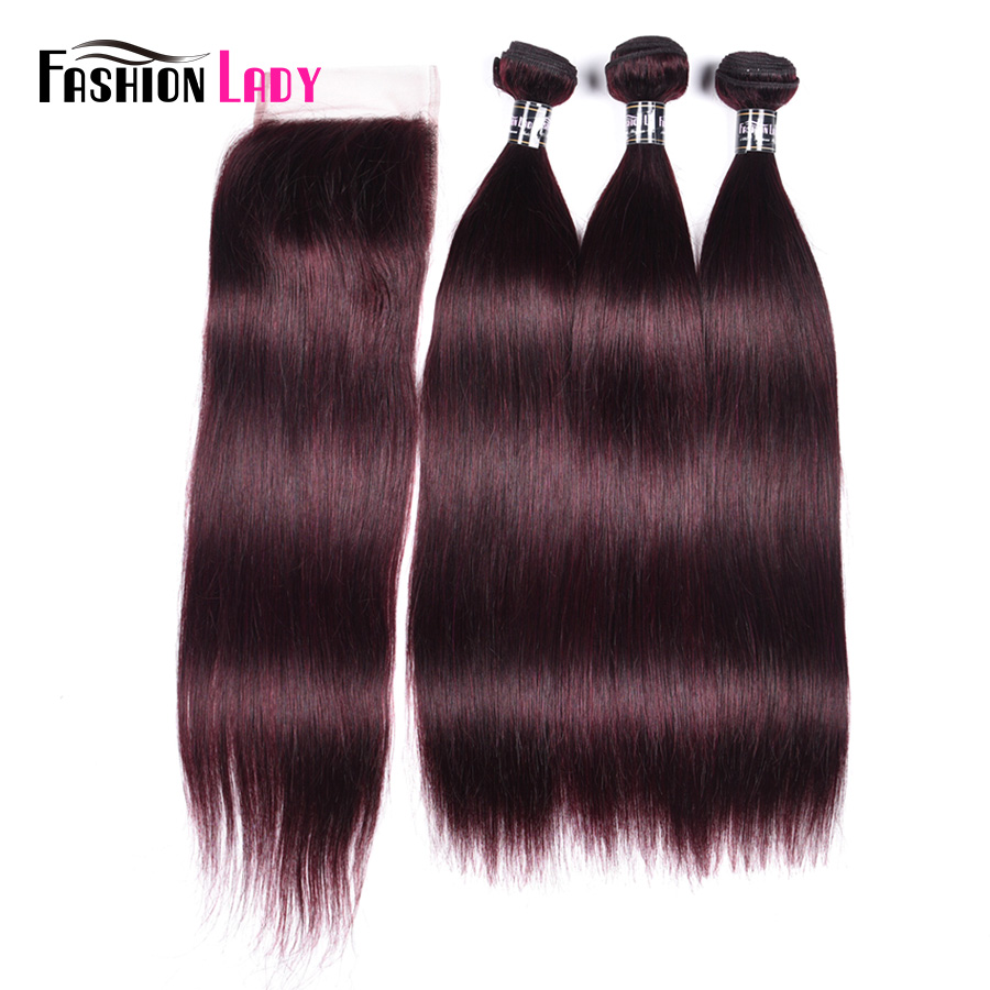 Fashion Lady Pre-colored Straight Brazilian Human Hair With Closure 4*4 Dark Purple Bundles 3 Bundles With Closure Non-remy