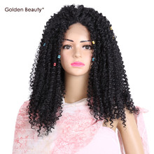 Golden Beauty 22inch long Afro Kinky Curly lace front Wig with Bangs Black Synthetic Wigs for black women