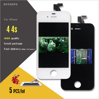 Ovsnovo 5PCS LCD Touch Screen For iPhone 4 4s Display Digitizer Assembly Replacement in Black/White Promise Test No Dead Pixel