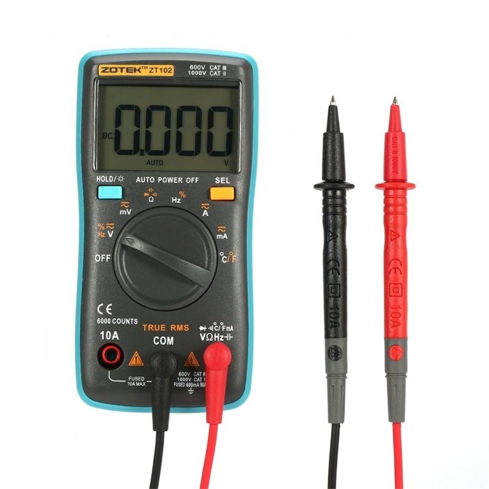 ZOTEK ZT102 Mini 6000 Counts Auto Range Digital Multimeter AC/DC Voltage Current Tester with Temperature Measurement handheld counts with temperature measurement lcd digital multimeter tester xl830l without battery new ls d tool